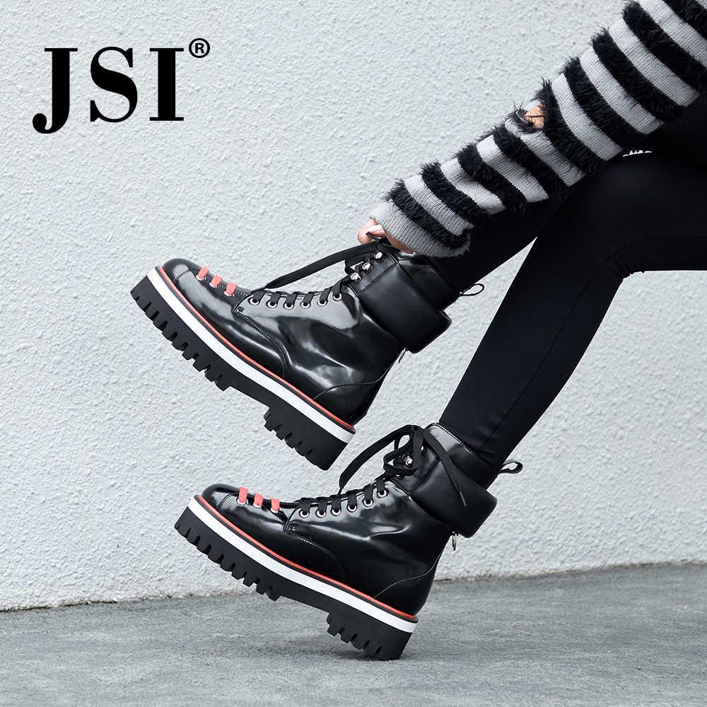 JSI/Новые Модные женские ботинки Ботинки martin на платформе женская повседневная женская обувь ручной работы из натуральной кожи на шнуровке большого размера JO218