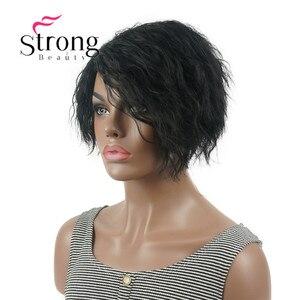Image 3 - Strong beauty perruque Bob asymétrique courte, perruque synthétique complète, noire, ondulée, duveteuse