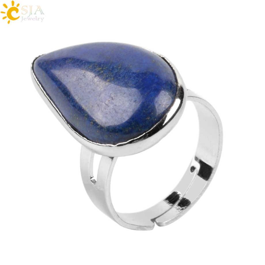 CSJA Reiki Healing หินธรรมชาติ Water Drop แหวนบุรุษแหวนสีม่วงสีชมพูควอตซ์ Tiger Eye เครื่องประดับงานแต่งงาน e870