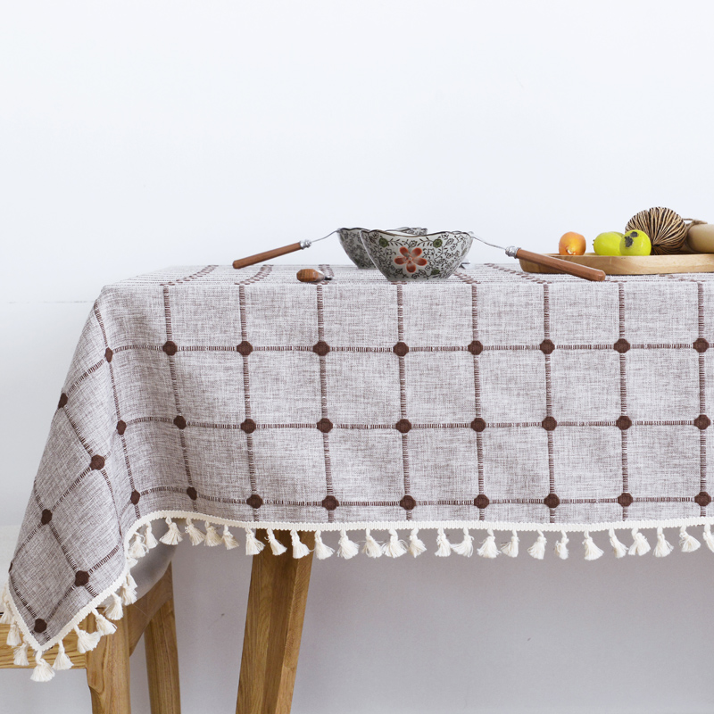 Beige And Coffee Plaid Print Linen Contemporary Bedroom: Pastoral Plaid Tassel Printed Tablecloth Cotton Linen