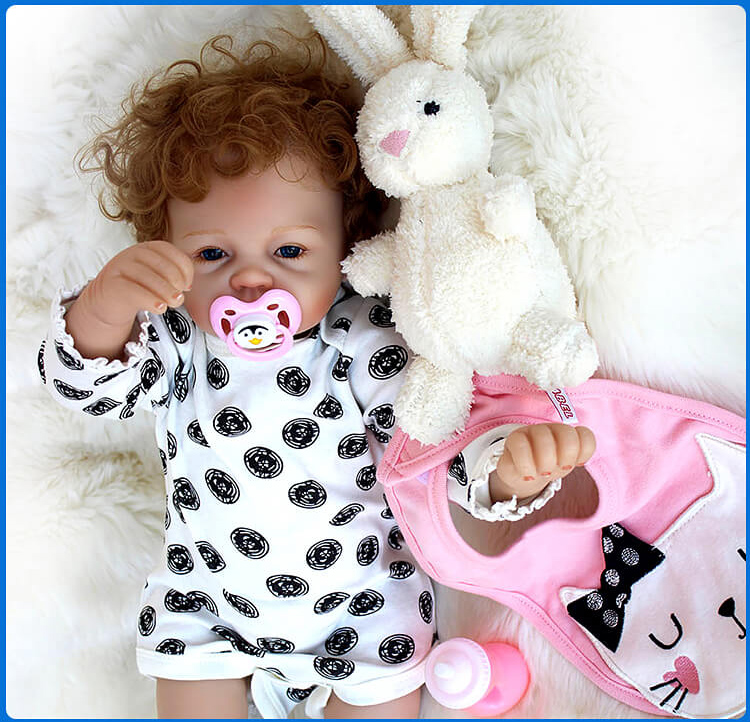 2253cm Realistic silicone reborn baby dolls rooted curly hair soft cotton body with rabbit plush doll gift bebes reborn bonecas2253cm Realistic silicone reborn baby dolls rooted curly hair soft cotton body with rabbit plush doll gift bebes reborn bonecas