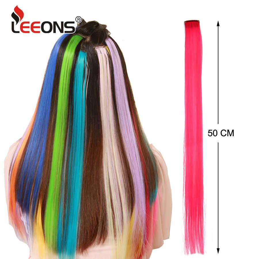 Leeons цветной изюминкой синтетические волосы для наращивания Клип В одна часть длинные прямые пряди для женщин синий коричневый 2 тона волос