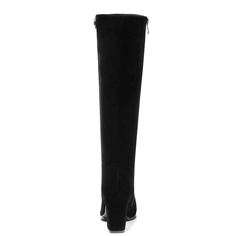 WETKISS Diz Botları Yeni Stil Kısa Peluş Kış Çizmeler Kadınlar için Siyah Akın Fermuar Yüksek Topuklu kadın ayakkabısı Kadın Ayakkabısı