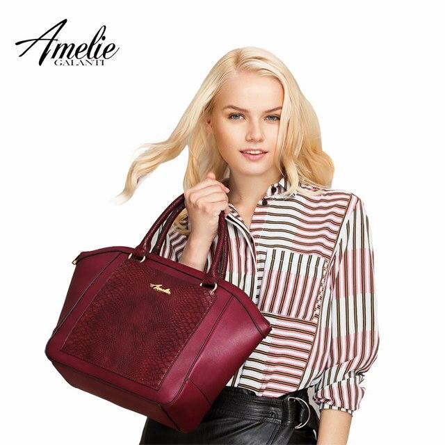 AMELIE GALANTI модные трапеции женские сумки большой емкости Женские повседневные сумки твердые искусственная кожа женские сумки на плечо с молнией сумка