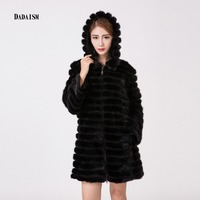 2017 new women's fur coat natural sable Slim type long long sleeved whole fur hat collar Office Lady jacket free shipping