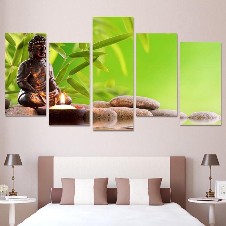 Buddha Meditation Tree Religious 5 Piece Canvas Art Framed
