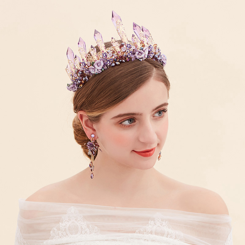 Luxury Purple Crown Diadem Bridal Headband Handmade Wedding Hair Accessories Crystal Tiara Women Headpiece Bridal Gold Tiara rhinestone pearl flower bridal crowns handmade vintage gold tiara headband crystal diadem crown wedding hair accessories