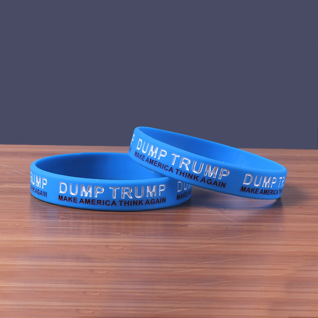 2017 New Dump Trump Silicone Bracelets Make America Think Again Against President Bands 50pcs