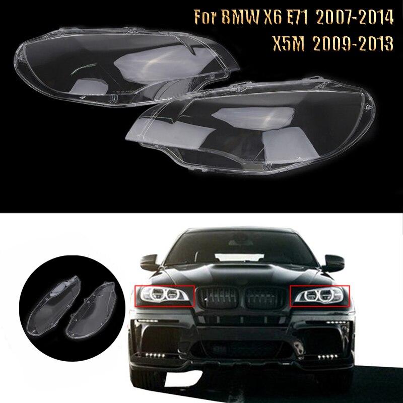 Clear Led Headlight Glass Lens Headlamp Cover Car For BMW X5M X6 E71 30dx 35dx 35ix 50ix Clear Head Light Shell Left Right /