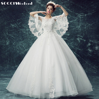 SOCCI 2017 Romantic Princess Beauty Batwing Sleeve Embroidery Lace Bridal Formal Party Dress Marriage Gowns Vestidos