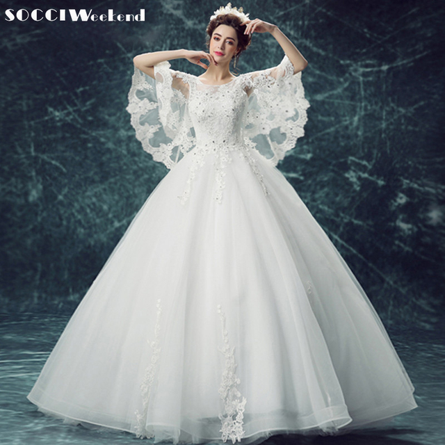 SOCCI 2018 Romantic Batwing Sleeve Wedding Dresses Embroidery Lace ...