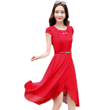 2017 New Summer Women's Dresess Fashion Short Sleeve O-neck Long Chiffon Dress Vestidos With Belt DX01(China)