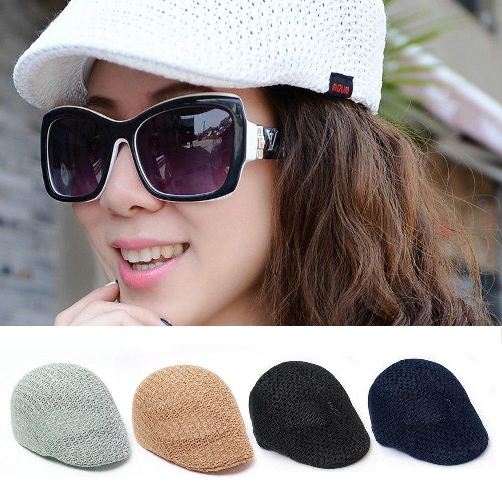 Faroonee 2018 Summer Unisex Men Women Sun Mesh Beret Cap Newsboy Golf Cabbie Flat Peaked Hat Casquette Breathable Berets V040