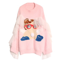2018 autumn and winter new Thai street fashion cartoon angel pattern mesh stitching pink pullover women loose long section