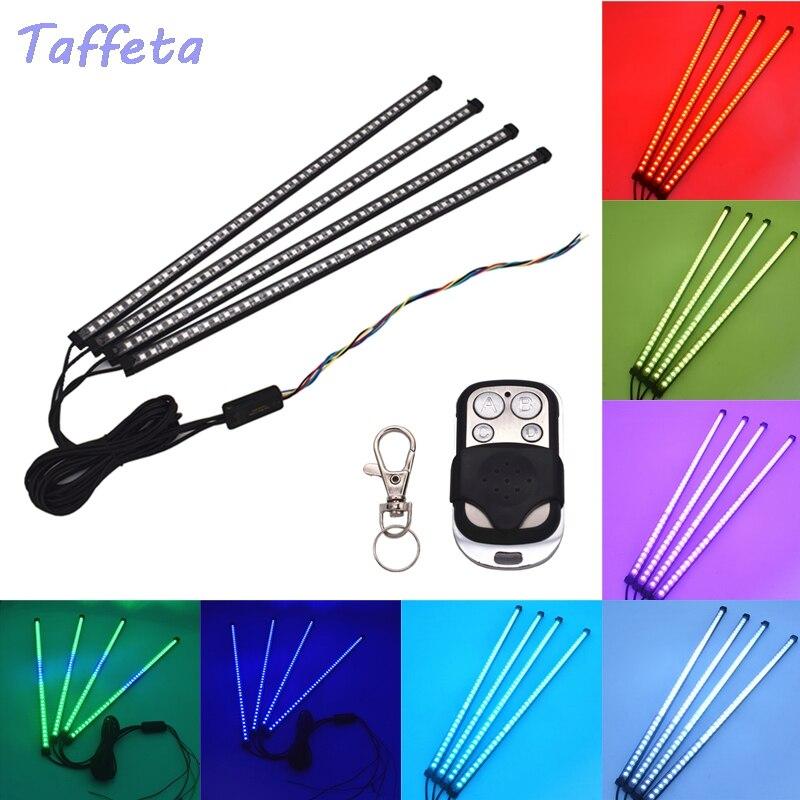 4x45 LED 5050 7 couleurs RGB LED Flash voiture stroboscope chevalier cavalier Kit bande de lumière + télécommande sans fil