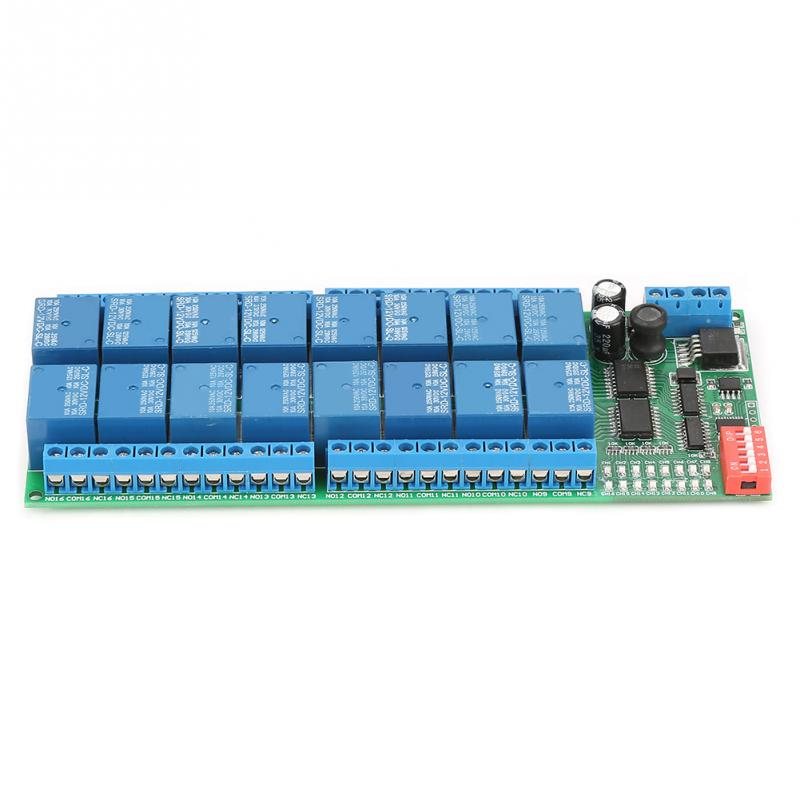 DC 12V Realy 16 Channel RS485 Relay Module  RTU Relay Board PLC Controller Serial Port Switch 485 Relais High Quality
