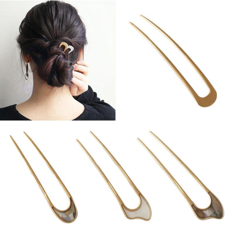 Women Girls Japanese Style Metal Alloy U-Shape Hair Clip Vintage Hair Sticks For Women Lady Hairpin Bun Tool Headwear