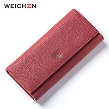 WEICHEN Wallet Women Matte Leather Many Departments Card Holder Coin Cell font b Phone b font