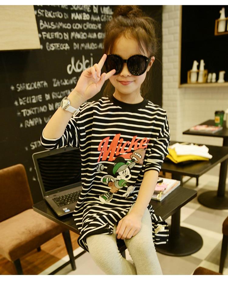 2-12Y, 2016 autumn fashion Girls cotton stripe dress kids shirt cute long sleeve shirt dress children blouse dress