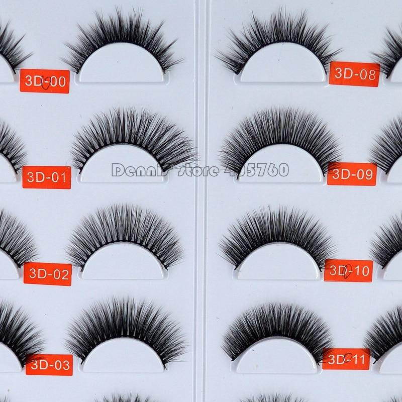 1 Pair 3D Multi Layers Natural Black Mink Hair False Eyelashes Makeup Fake Eye Lashes Beauty DIY Salon Tip 00-11#