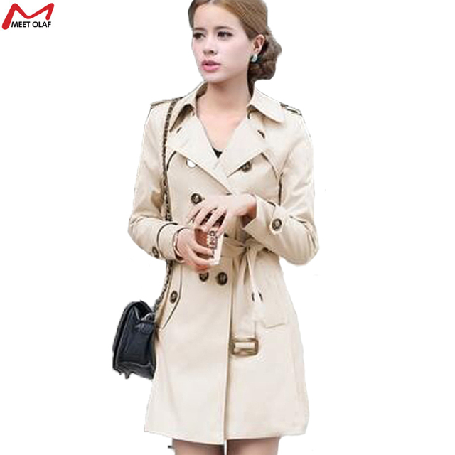 Women Trench 2015 New Autunm Winter Coat Slim Fashion Plus Size Medium-Long Windbreaker Patchwork OL Outwear YL01