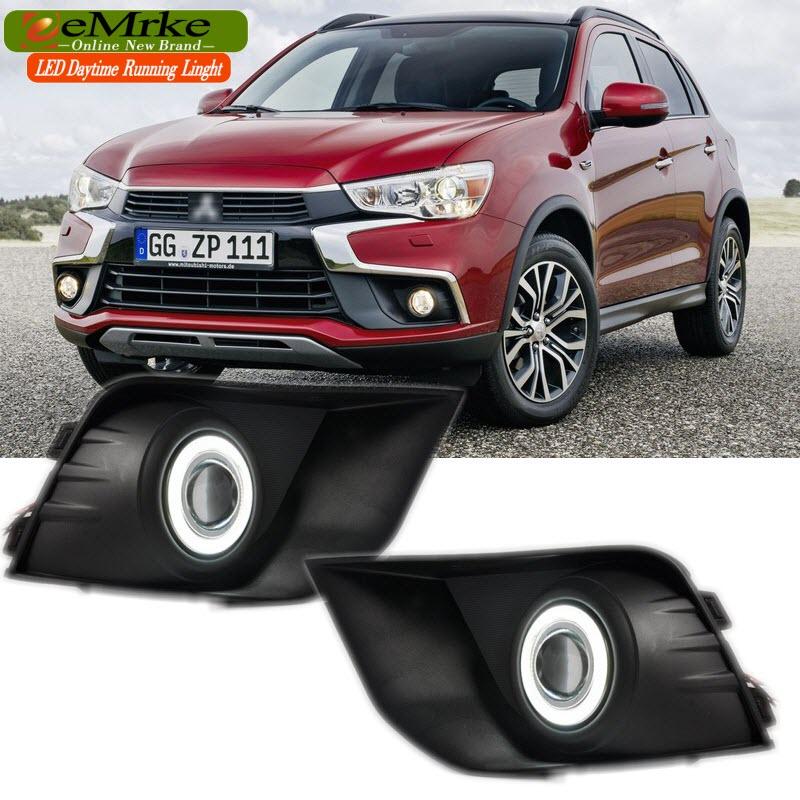 EEMRKE Car-Styling For Mitsubishi ASX 2016 2017 LED Angel Eyes DRL Driving Lights Tagfahrlicht 12V H11 55W Fog Lights Lamp for opel astra h gtc 2005 15 h11 wiring harness sockets wire connector switch 2 fog lights drl front bumper 5d lens led lamp