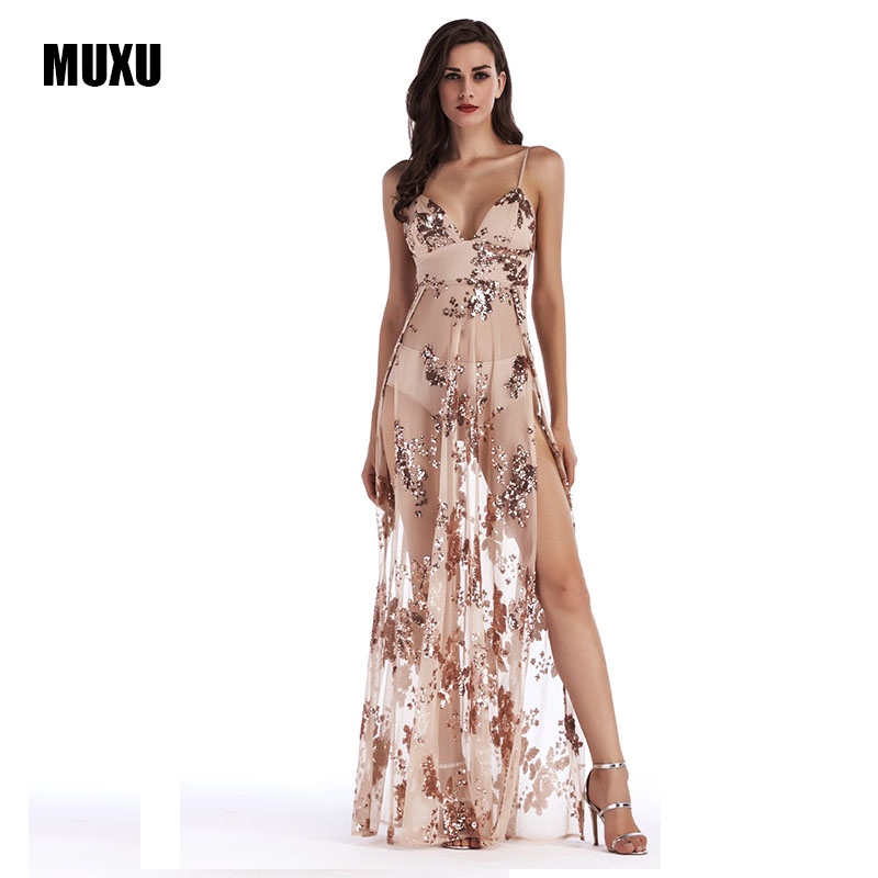 49860921 MUXU sexy summer BLACK long gold sequin dress glitter vestidos de verano  backless long dresses womens clothing suspender dress -in Dresses from  Women's ...