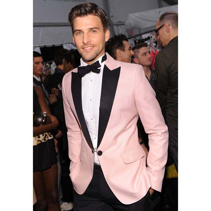 2017 Smoke terno slim fit wedding suits tuxedo prom Pink Styles men ...