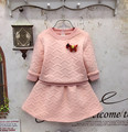 Meninas outono/inverno roupas definir camisa da cor de rosa com saia set crianças menina bordado treino para crianças conjunto de roupas