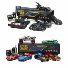 1: 64 de Avengers Iron Hulk Loki Spider-man Captain America Batman Batmobile 7 pcs Legering auto set truck model speelgoed Voor Kinderen(China)