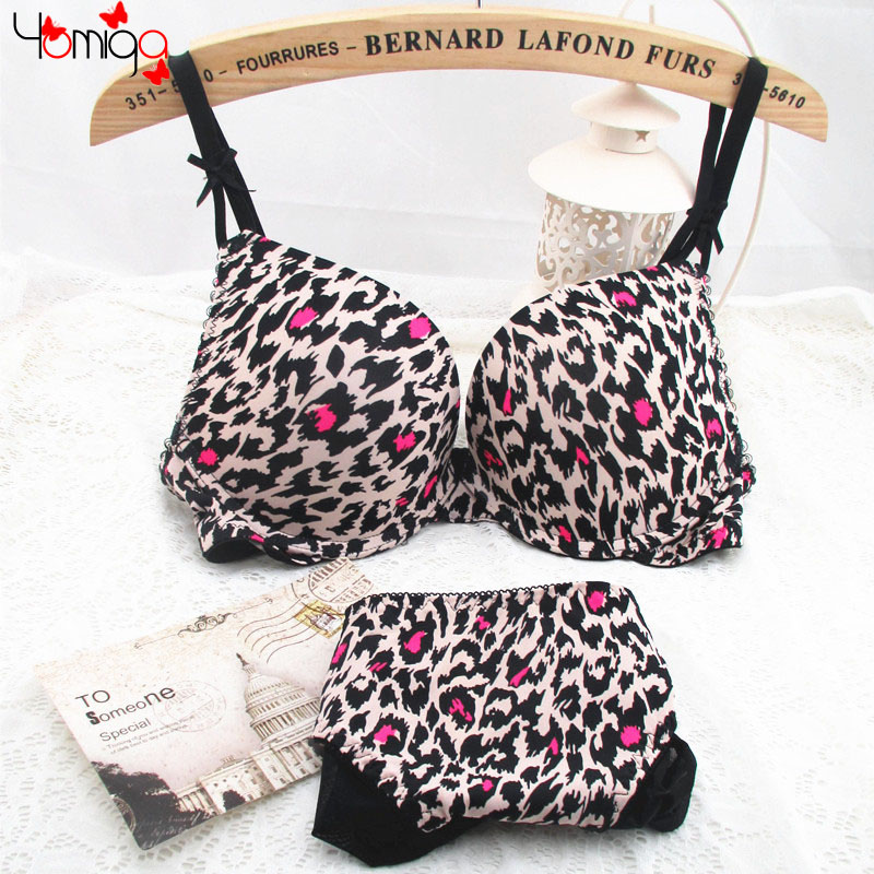 9ce9ea8614bcb CLEARANCE SALE Plunge Leopard Bra Underwear Sets For Women Printing Ladies  Sexy Bra Lingerie Cheap Push Up Bra And Brief Sets