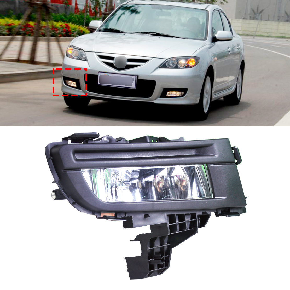 ФОТО beler Car Light Acc 1Pc 12V 51W Front Right Fog Light Lamp 9006 for Mazda 3 2007 2008 2009 Not for Sport GT Hatchback Model