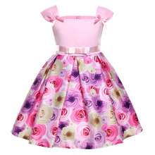 Girl Clothes Printed Dress Summer Princess Clothes Cute Children Holiday Dress For Kids Baby Pink Wedding Gowns  Casual Dress girl cotton lace dress for kids 2017 summer new arrival children clothes pink grey lace princess korean cute backless dress