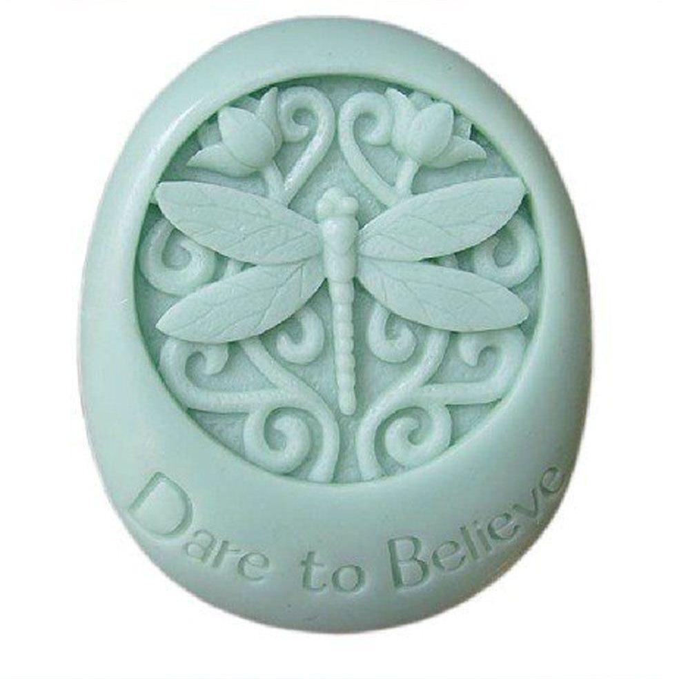 Dare to Believe Dragonfly Oval Silicone Soap DIY Mold Craft Art Clay Molds Handmade Soap Mould Candle Soap Making Mold