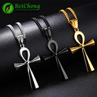 (10 pieces/lot) Ankh Necklace Egyptian Gold Silver Stainless Steel Pendant & Chain For Men Women Egyptian Ankh Cross Necklace