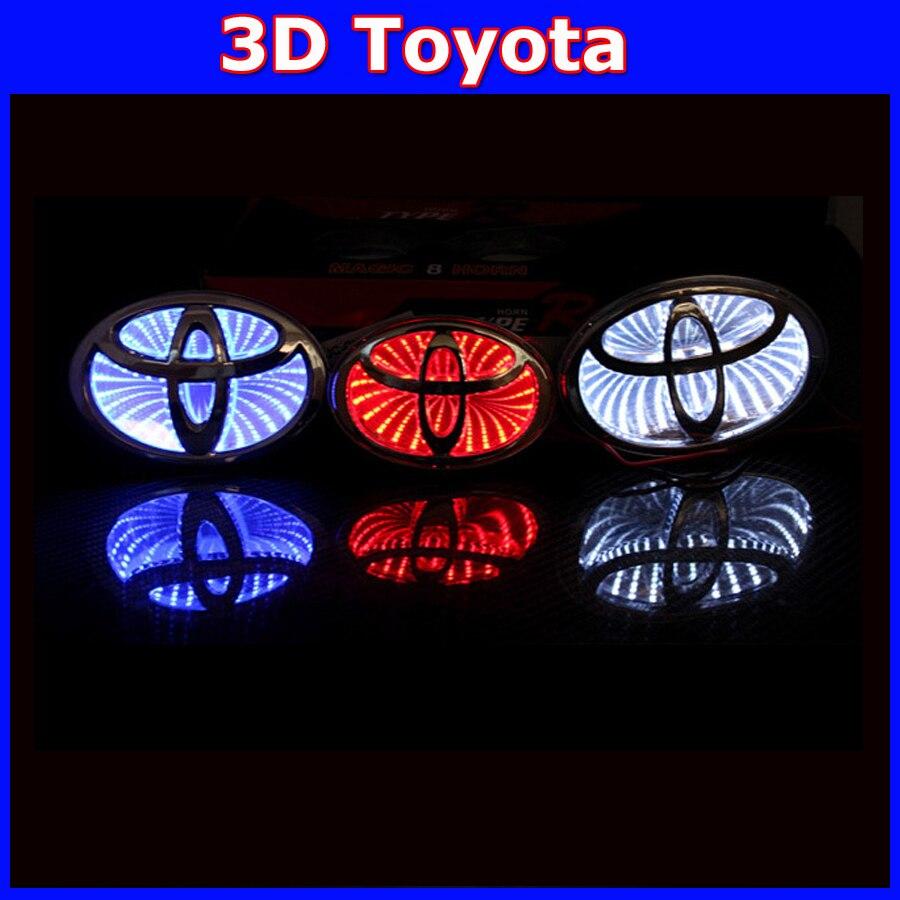 car 3D toyota led Logo sticker emblem Badge light front lamp for ALRHARD Camry COROLLA REIZ VIOS YARIS PRADO RAV4 EZ Highlander 1 piece car sticker styling waterproof 4d led el cold light badge logo emblem lamp for suzuki swift alto