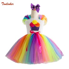 цена на Hair Hoop Girls Unicorn Tutu Dress Princess Kids Party Dress Girls Christmas Halloween Rainbow Pony Cosplay Costume 2-10T New