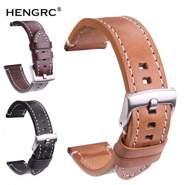 Genuine Leather Watchbands Strap 18mm 20mm 22mm 24mm Black Dark Brown Women Men