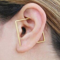 Ouro orelha manguito orelha alpinista artesanal brincos quadrados ouro enchido/925 prata jóias oorbellen minimalista brincos para mulher