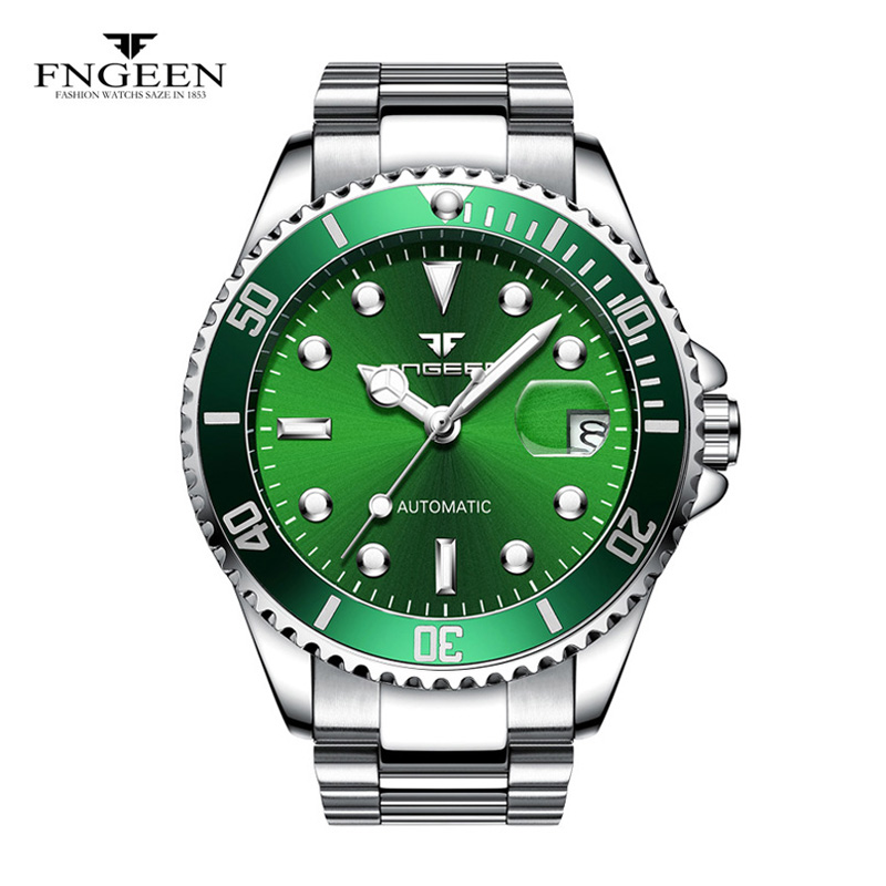 2018 New Fngeen Automatic Mechanical Watch mens Watches Top Brand Luxury Fashion Business watch Diver Watch Man Clock 90 fngeen gold automatic mechanical watch fashion mens watches top brand luxury business watch otomatik saat cube man clock 25