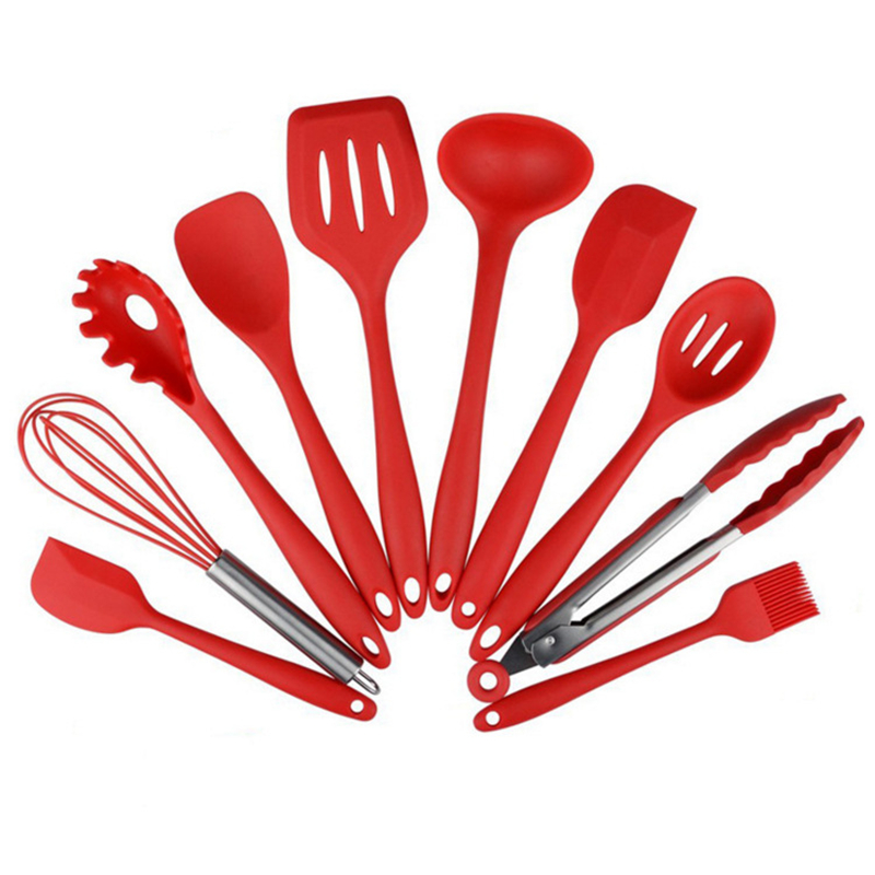 Silicone Kitchen Utensils 10 Piece Cooking Utensil Set Spatula, Spoon, Ladle, Spaghetti Server, Slotted Turner. Cooking Tools