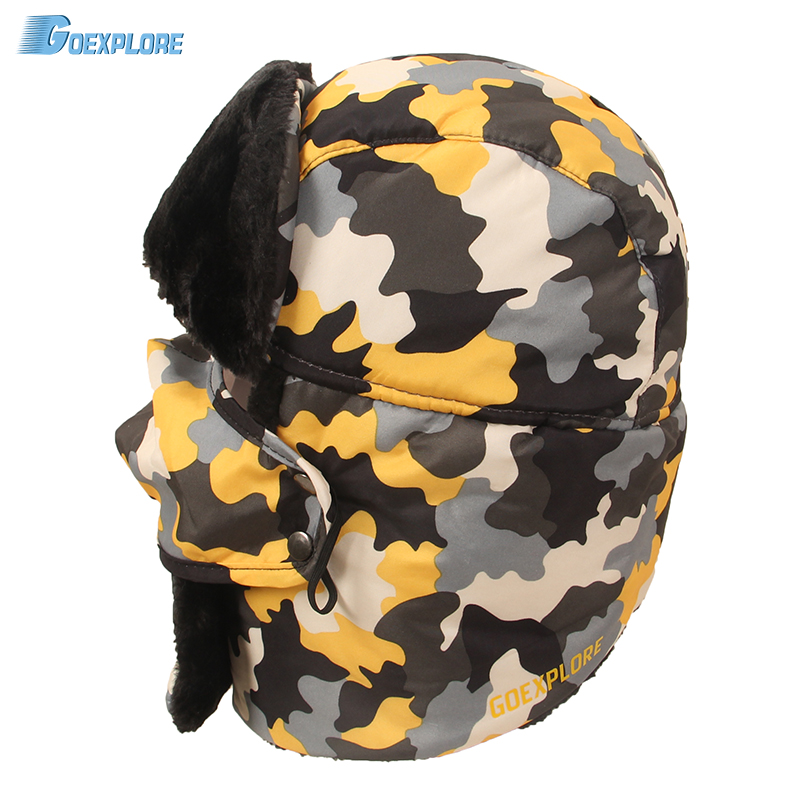 Goexplore Snow Cap Thicken Masked full cover Winter camouflage Cap Sport Outdoor Camping Hiking Ski Hat For Men Women