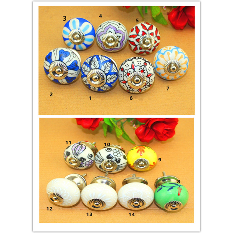 Bulk Vintage Furniture Handle Flower Ceramic Knobs and Handles Door Handle Cupboard Drawer Kitchen Pull Knob Furniture Hardware retro vintage kitchen drawer cabinet door flower handle furniture knobs hardware cupboard antique metal shell pull handles 1pc