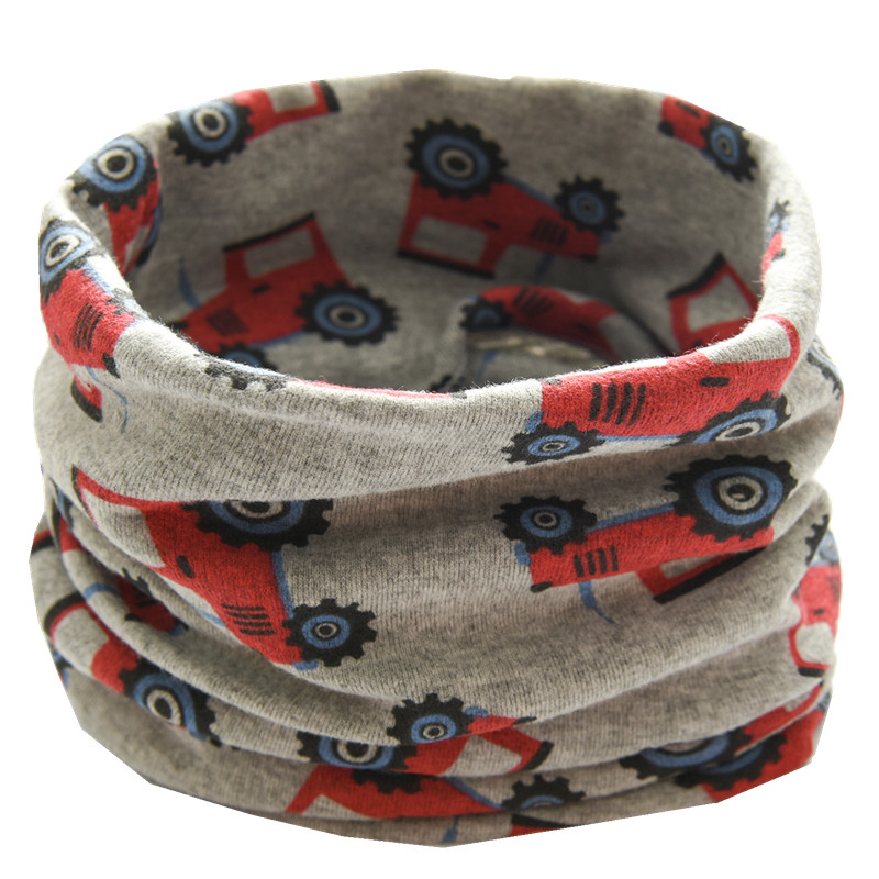 Осенне-зимний детский хлопковый плюшевый шарф, детский шарф для девочек, шарфы для мальчиков и девочек, детский воротник, детский волшебный шейный платок с круглым вырезом - Цвет: gray truck