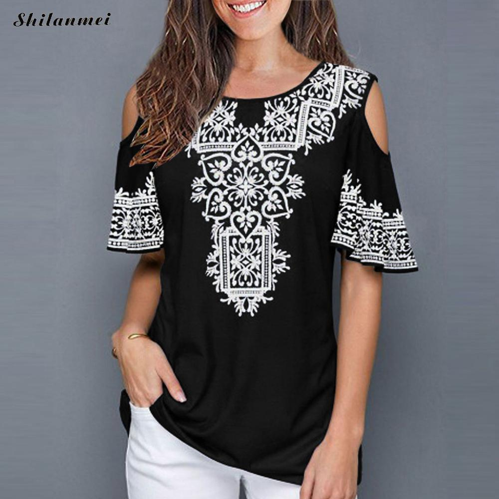 2019 Fashion Women Blouses And Tops Off Shoulder Plus Size Summer Beach Shirts Sexy Floral Print Vintage Short Sleeve Women Top