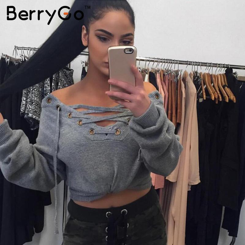 berrygo на шнуровке зимний свитер 2016 женские повседневные свободные ремень топ в рубчик трикотаж джемпер сексуальный эластичный рубчик пуловер верхняя одежда