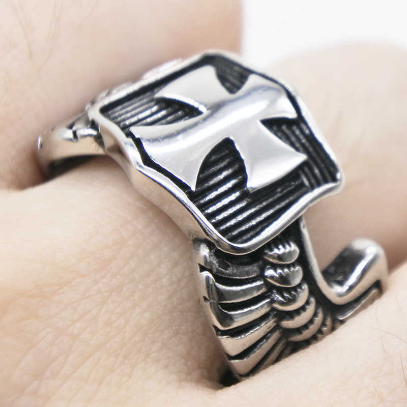 AMUMIU Punk Wind Cross Ring Gothic Rock Exaggerated Rings Retro Wings Metal Men's Open Rings Nightclub Trend Jewelry Gifts R041