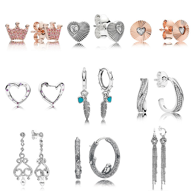 d2a2b76fe 925 Sterling Silver Rose Crown Spiritual Feathers Enchanted Tassels With  Crystal Hanging Earring Studs For Women Pandora Jewelry