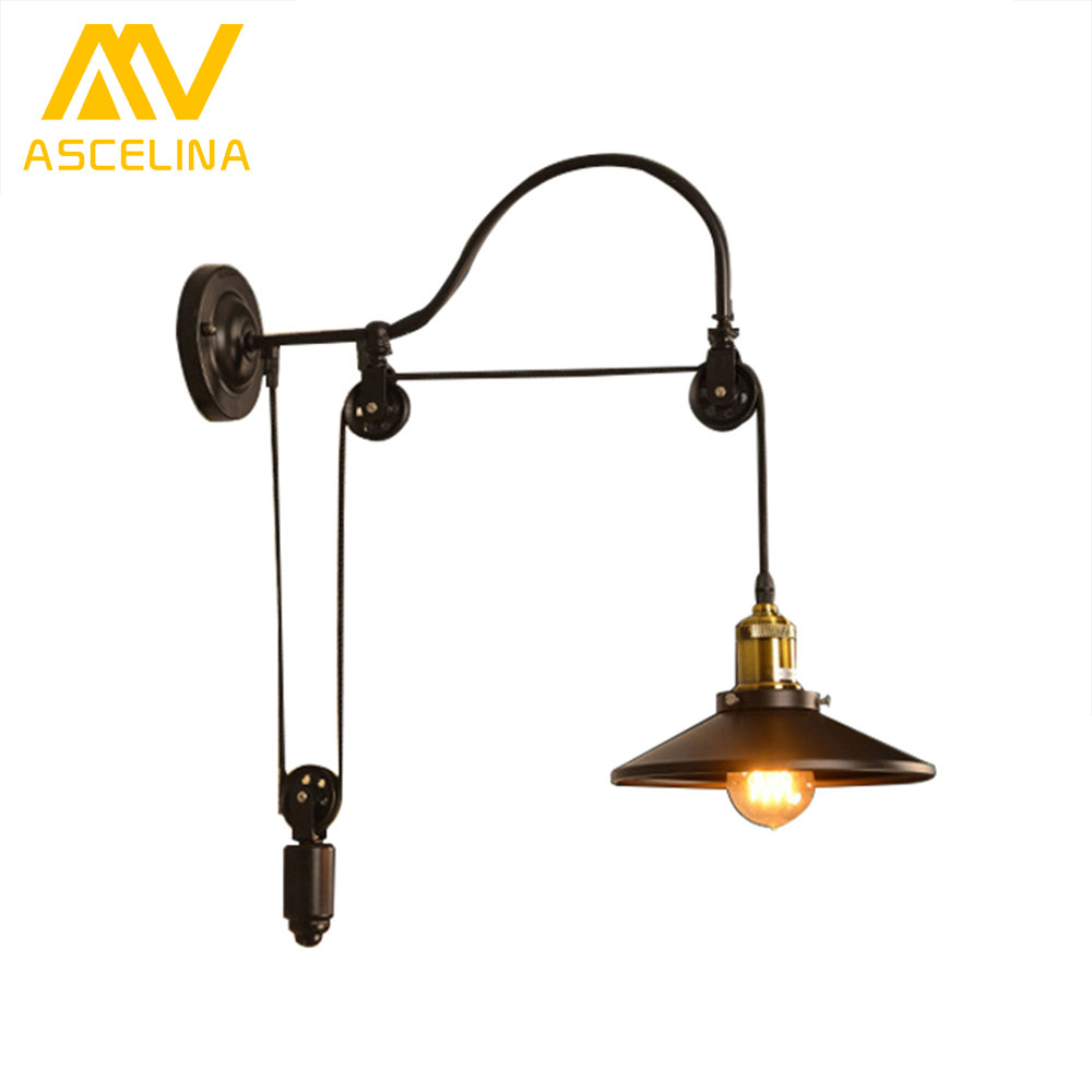 ASCELINA loft wall lamp pulley wheel industrial Wall Light Sconce WALL Lights led lamps for living room indoor lighting 85-260V ascelina led pendant lights loft style industrial lighting vintage hanglamp with lamp shade for living room e27 85 260v