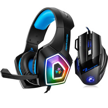 Hunterspider V1 Gaming Headset Over Ear Stereo Heaphone With Mic LED  Light for Xbox One PS4 PC+7 Buttons 5500 DPI Mouse